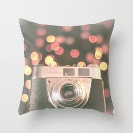 Film camera and magic bokeh (Vintage and Retro Still Life Photography)  Throw Pillow