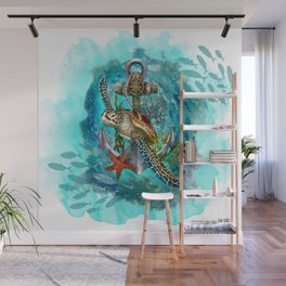 Turtle and Sea Wall Mural