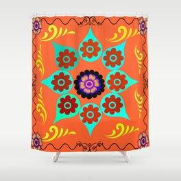 Talavera Tile Orange Shower Curtain