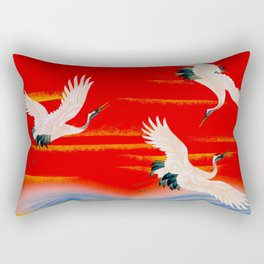 Furisode with cranes above the rough sea(Japan) Rectangular Pillow