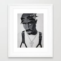 tupac Framed Art Prints featuring Pop Cult™ - Tupac 2 by Lina Barbarin - Pop Cult™ & Aminals™