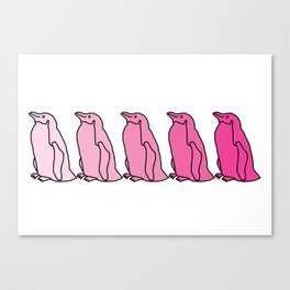 Waddle of Penguins in Pink Tones Canvas Print