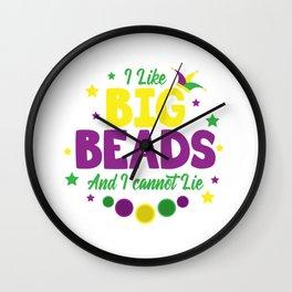 Mardi Gras Beads Carneval New Orleans Wall Clock