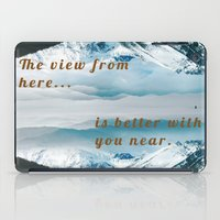 postcard iPad Cases featuring Mountains Postcard by Darcy Lynn Designs