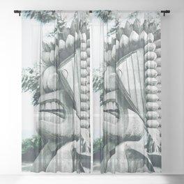 Ku Tiki Retro Powder Blue Kuau Sheer Curtain