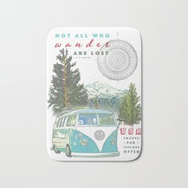 """Not all who wander, are lost"" poster print Bath Mat"