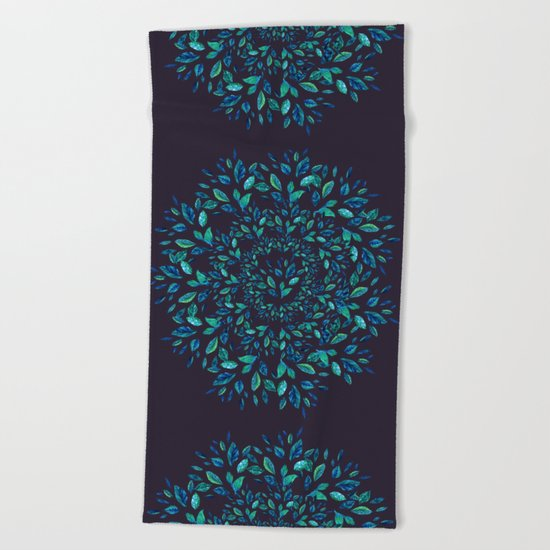 Blue Leaves Mandala Beach Towel
