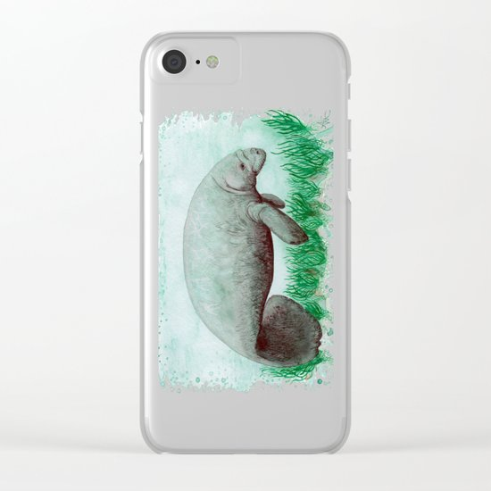 The Manatee ~ Watercolor by Amber Marine Clear iPhone Case