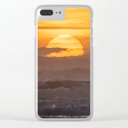 Close-up of Sun Settings Over Ocean Waves Clear iPhone Case