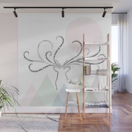 Abstrac Typographic Reindeer in The Mountains Wall Mural