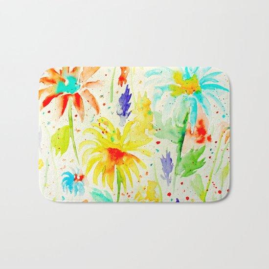 Abstract Flowers 01 Bath Mat