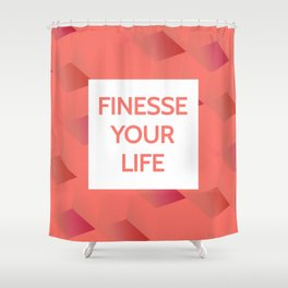 Finesse Your Life - Living Coral Typography Shower Curtain