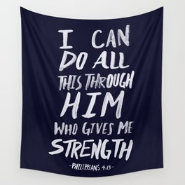 Philippians 4: 13 x Navy Wall Tapestry