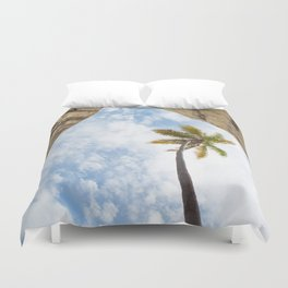 Virgin Gorda Batholithic Boulders and a Sunny Palm Tree Duvet Cover