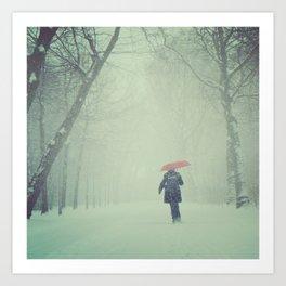 Snow in Vondelpark Art Print