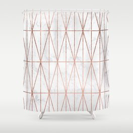Modern geometric triangles faux rose gold pattern on white marble Shower Curtain
