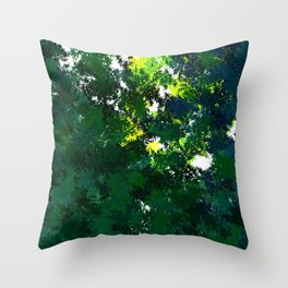 Sunny day in the forest Throw Pillow