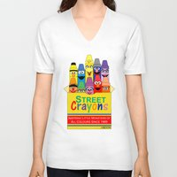 sesame street V-neck T-shirts featuring Color Me Sesame by Mike Boon