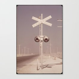 White dust on railroad crossing Canvas Print