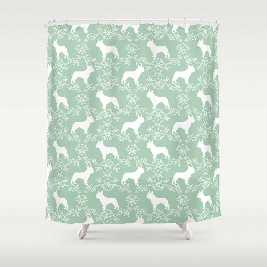Bulldogs Shower Curtains Society - Mint green shower curtain