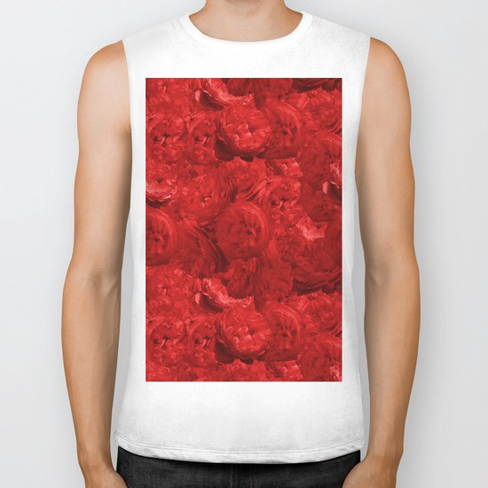 Bed of fire red roses - Rose floral Flowers Biker Tank