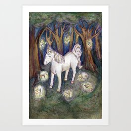 Unicorn with Fairies in the Enchanted Forest Art Art Print