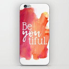 BeYOUtiful Watercolor Print iPhone Skin