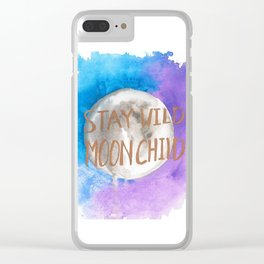 """Watercolor """"Stay Wild Moon Child"""" Clear iPhone Case"""