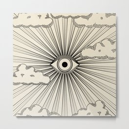 Radiant eye minimal sky scene with clouds - black lines on neutral Metal Print