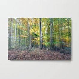 Abstract forest, intentionally blurred by zooming during exposure Metal Print