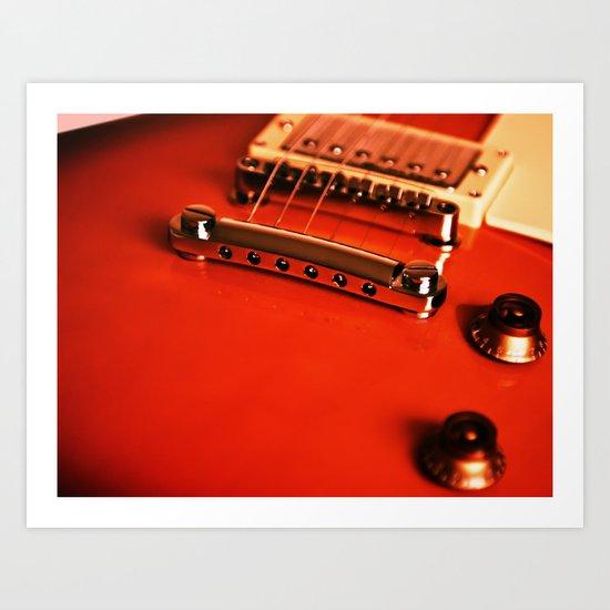 Six Strings On Red Art Print
