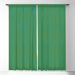 Doors & corners op art pattern in olive green and aqua blue Blackout Curtain