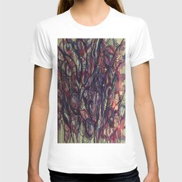 Watercolor Abstract Purple Flower Painting T-shirt