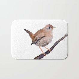 Wren, Bird, Brown Bird Watercolor Painting by Suisai Genki Bath Mat