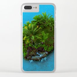 Tiny Island Tropical Oasis Clear iPhone Case