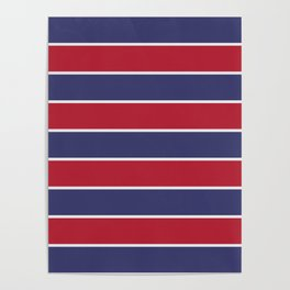 Large Red White and Blue USA Memorial Day Holiday Horizontal Cabana Stripes Poster