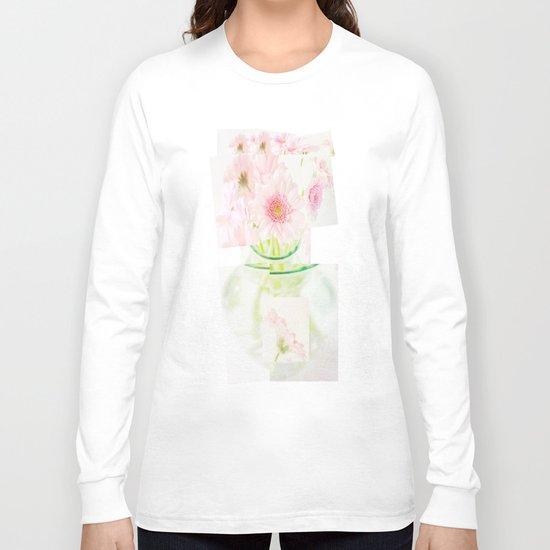 Collage Love - Inspired by David Hockney - Pink Gerberas  Long Sleeve T-shirt