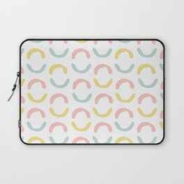 Pastel pink coral blue yellow abstract geometrical circles Laptop Sleeve
