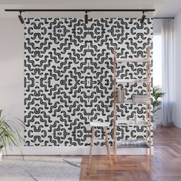 Black graphic squiggle tiles, abstract shapes, ethno-inspired Wall Mural