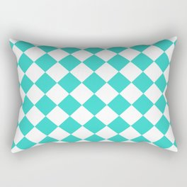 Diamonds - White and Turquoise Rectangular Pillow