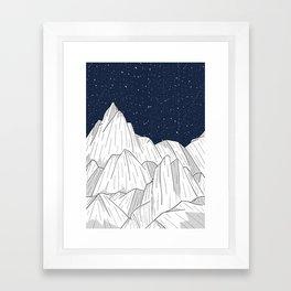 The white mountains under the stars Framed Art Print