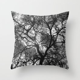 Dramatic London Tree Silhouette Throw Pillow