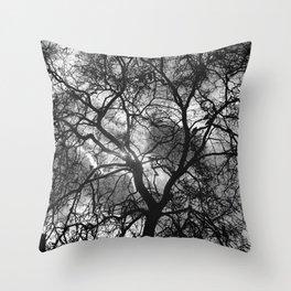 Dramatic London Tree Silhouette Throw Pillow