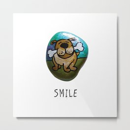 Smile Rock Cute Puppy with Bone Rock Painting by annmariescreations Metal Print