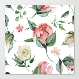 Pink White Peony Roses Watercolor Floral Pattern Canvas Print