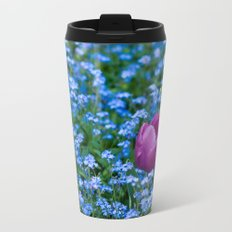 Pink Tulip in the blue Travel Mug