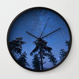 Shimmering Blue Night Sky Stars Wall Clock