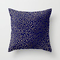 navy Throw Pillows featuring Gold Berry Branches on Navy by Cat Coquillette
