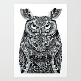 Fancy Great Horned Owl Art Print