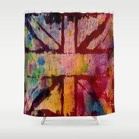 union jack Shower Curtains featuring Union Jack  by ChandaElaine